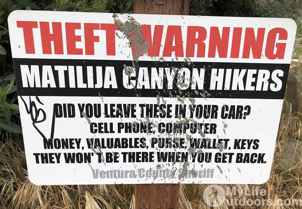 Theft Warning Matilija Canyon Hikers
